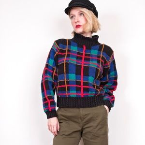 Vintage 80s checkered plaid turtleneck sweater